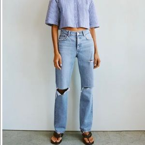 NWT Ripped full length straight jeans